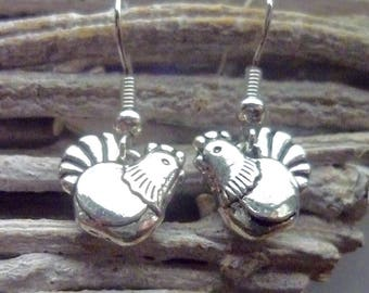 Chicken Earrings, Chicken Charms, Chicken Gift, Hen Party Gift, Chicken Jewellery, Poultry Keeper Gift, Poultry Farmer, Farm Animal Gift