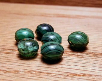 Czech Rondelles, Green with Black Stripes, 8x6mm, 6ct.