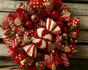 Candy Cane Peppermint Christmas Mesh Ribbon Wreath 23""