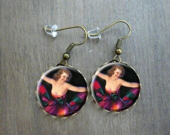 Boucles d'oreilles rétro vintage pin up Boucles d'oreilles cabochon