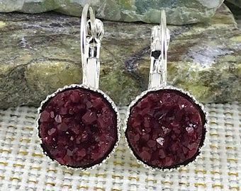 Maroon Druzy Earrings - Drusy - Leverback Earrings - Burgundy - Drop Earrings - Bridesmaid Gift - Earrings - Druzy Jewelry - Gift