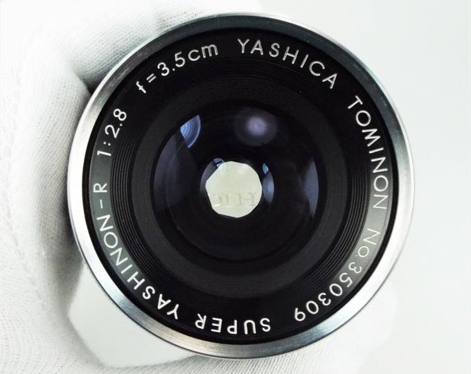 Rare Super Yashinon-R Tominon 3.5cm f2.8 Yashica Pentamatic Lens - Tomioka Optical - w/ Brown Leather Case and Strap & Metal Yashica Cap