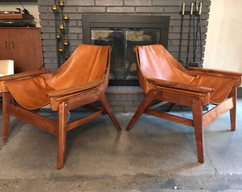 2 jerry johnson for plycraft leather sling chairs