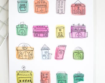 Colored Cottages Poster-A4