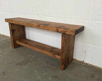 Handmade Solid Pine Reclaimed Wood Rustic Wooden Kitchen Bench Farmhouse Style