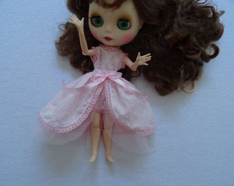 skirt and Bodysuit for doll BLYTHE 30 cm fabric pink satin and tulle pink