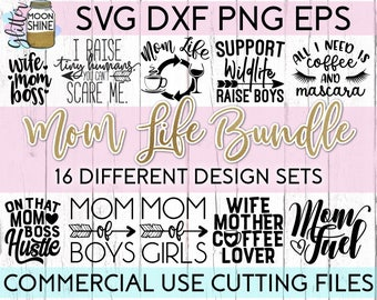 Mom Life Bundle svg eps dxf png Files for Cutting Machines Cameo Cricut, Girly, Mama Bear, Mother's Day, Funny, Coffee Mug svg, Cute Quotes