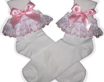 PINK White Lace BOWS Lacy Socks for Adult Little Girl Sissy Boy Dress up LEANNE