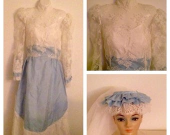On Sale Vintage Blue Lace Wedding Gown and Veil