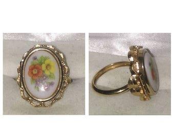 On Sale Vintage Avon Porcelain Painted Poison Ring