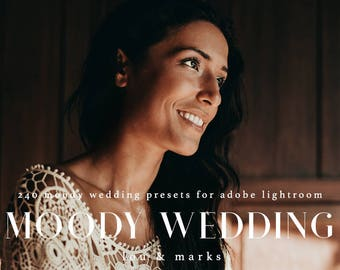240 Presets Moody Wedding Lightroom Kit Professional Wedding Lightroom Presets for Moody Toned Wedding Edits in Adobe Lightroom