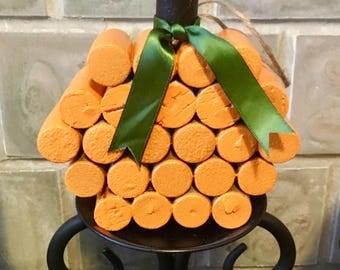 Cork Pumpkin, Pumpkin, Cork, Fall, October, November, Home, Decoration, Gifts, Center piece, Artistic, Art By Carole, Orange, crafty