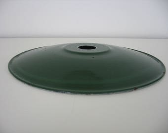 Vintage French Green Enamelled Flat Lampshade Circa Mid-Century Loft Style / Industrial Style / Factory Style Minimalist Lamp Shade