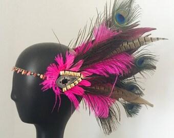 Festival feather headdress burning man headpiece
