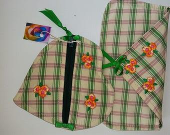 PROMO 623 2 covers kits in beige/Green/Pink Plaid taffeta