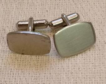 Vintage Metal Cuff links, made in England, Brushed Steel
