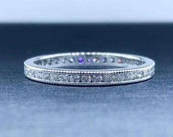 ETERNITY - Eternity Band - Diamond Wedding Band - Full Eternity - Diamond Band - Round Diamond Band - Size 7 Band - Wedding Ring