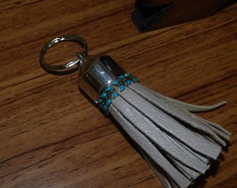 Leather key chain & Turquoise enamel spike