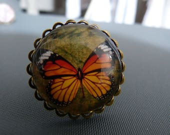 Orange Butterfly cabochon ring
