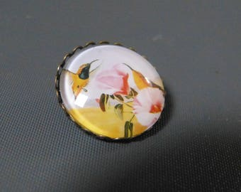Exotic birds cabochon brooch