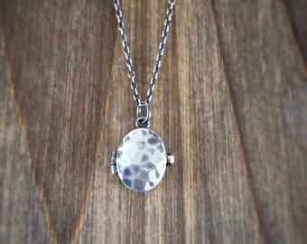Silver Locket - Textured Locket - Silver Oval Locket - Oxidised Locket - Picture Locket