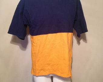 Vintage 90's Lee Two Tone Color Blocked Heavy Weight Cotton T Shirt Size Large