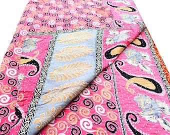 Kantha Quilt, Kantha Throw, Vintage Kantha Quilt, Kantha Throw, Kantha blanket, Patchwork quilt, Reversible quilt