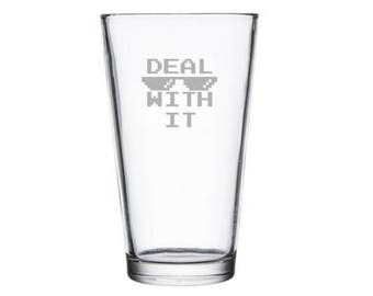 Deal with it meme etched pint glass, internet meme glass, reddit gifts, dank meme present, Dog Meme Gift, sunglasses Meme Glass, wine gift