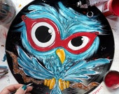 CUSTOM ORDER for GREG - Owl painting, vinyl record art, turn your wounds into wisdom