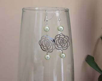 Pale green pink earrings silver and mother of pearl earrings
