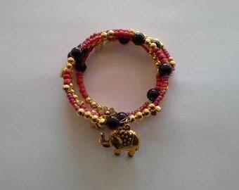 black gold red memory Wire Bracelet