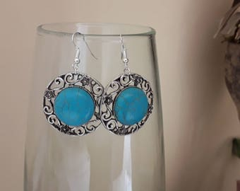 Earrings ethnic Bohemian turquoise and silver