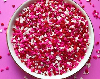 Edible Sprinkles - Mini Heart Confetti Sprinkles in Red, White and Pink - 3 oz