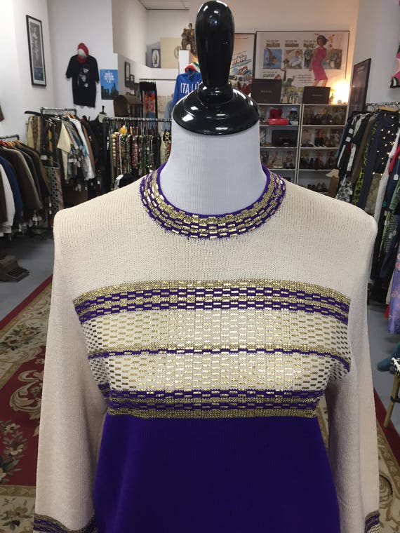 Vintage 1960s Purple, Cream, and Gold Sweater
