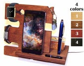 Docking station men wood Charging station Phone stand wood Apple watch stand Christmas gifts for men Desk organizer iPhone holder wooden