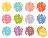Scribble Circle Clipart for Commercial Use - PNG Files in Rainbow Colors   0124