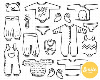 Line Art Baby Boy Clothes Clipart Illustration for Commercial Use   0500