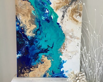 Abstract Beach Painting.Coastal Art. Original Painting. Acrylic. Blue Art.Modern. Contemporarry Art
