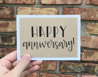 Happy Anniversary Card - Handmade Rustic Calligraphy Card - Single Card