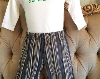 Boys Velvet Stripe Pants with Elasticated Waist