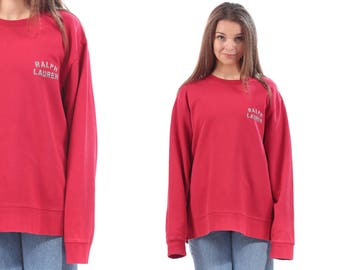 RALPH LAUREN Sweatshirt 90s Red Grey  Embroidered Retro Oldschool Vintage  Cozy Sweater Jumper Men Women Unisex Pullover  XL