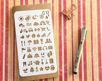 Bullet Journal Stencil #C12 - Planner, Journal, Craft, Scrapbooking, Decoration