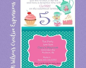 Tea*rrific 1st, 2nd, 3rd, 4th, 5th, Birthday Invitation