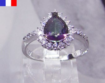 Adorned with Mystic Topaz 925 sterling silver ring