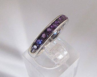 Fine silver ring and Amethyst size 50