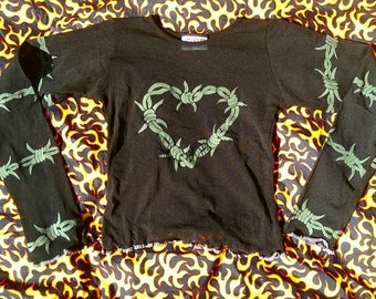 Black mesh sheer 90s cyber goth barbed wire heart long sleeve crop top grunge gothic deadstock