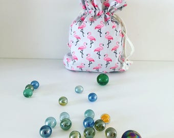 Pink flamingos textile beads bag