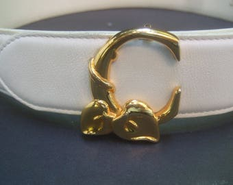 CHLOE Crisp White Leather Gilt Buckle Belt Made in France