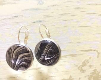 Black and white modern marble earrings