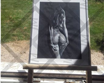 Drawing nude woman black and white